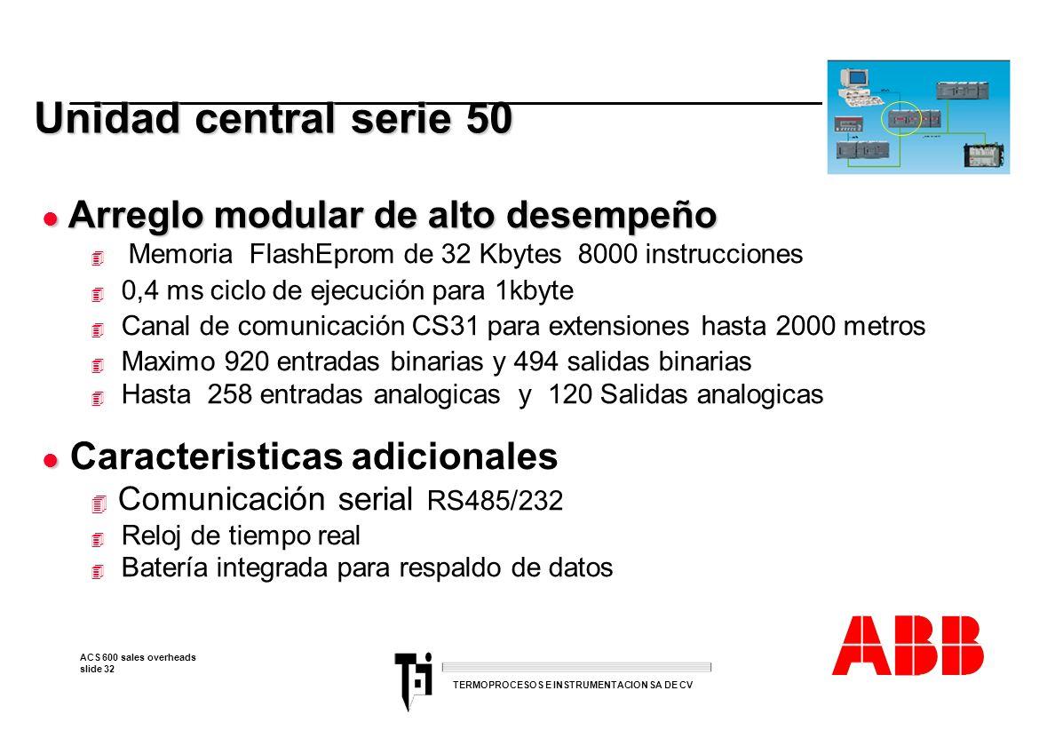 Unidad central serie 50 Arreglo modular de alto desempeño