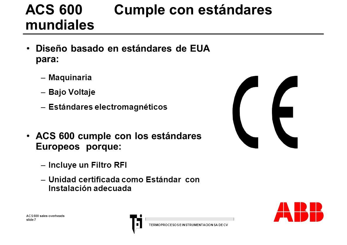 ACS 600 Cumple con estándares mundiales