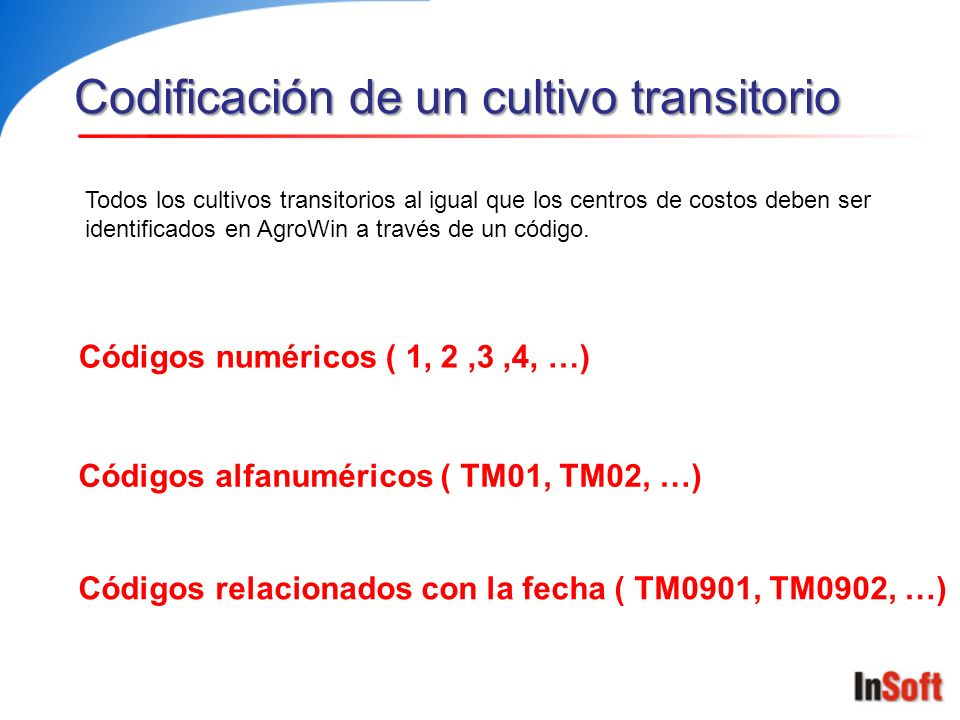 Codificación de un cultivo transitorio