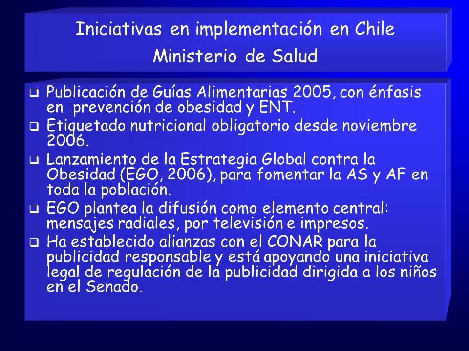 Iniciativas en implementación en Chile Ministerio de Salud
