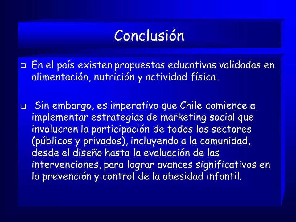 Conclusión En el país existen propuestas educativas validadas en alimentación, nutrición y actividad física.