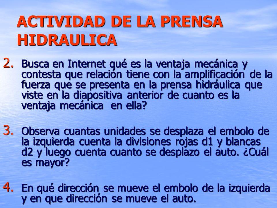 ACTIVIDAD DE LA PRENSA HIDRAULICA