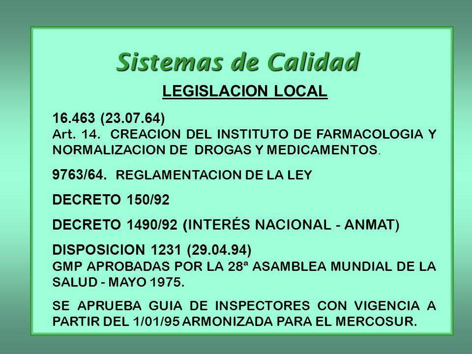 Sistemas de Calidad LEGISLACION LOCAL 16.463 (23.07.64)