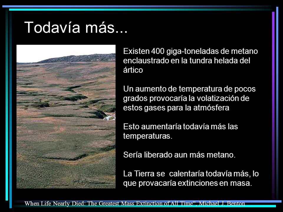 Todavía más... Existen 400 giga-toneladas de metano enclaustrado en la tundra helada del ártico.