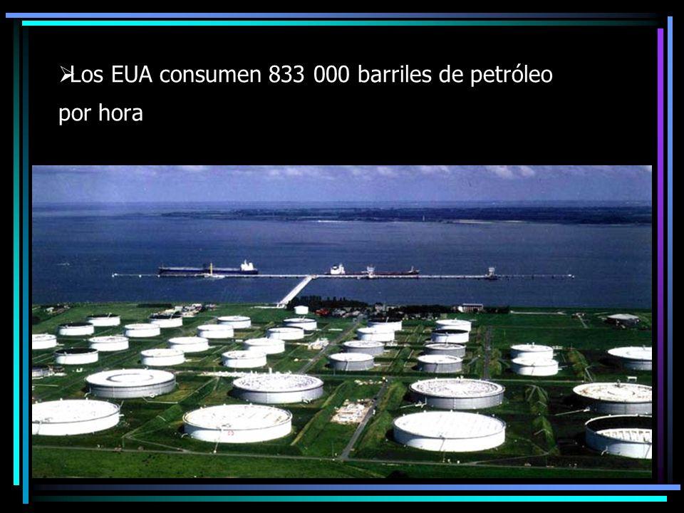 Los EUA consumen 833 000 barriles de petróleo por hora