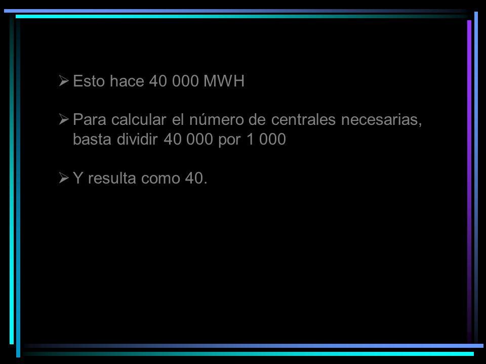 Esto hace 40 000 MWH Para calcular el número de centrales necesarias, basta dividir 40 000 por 1 000.