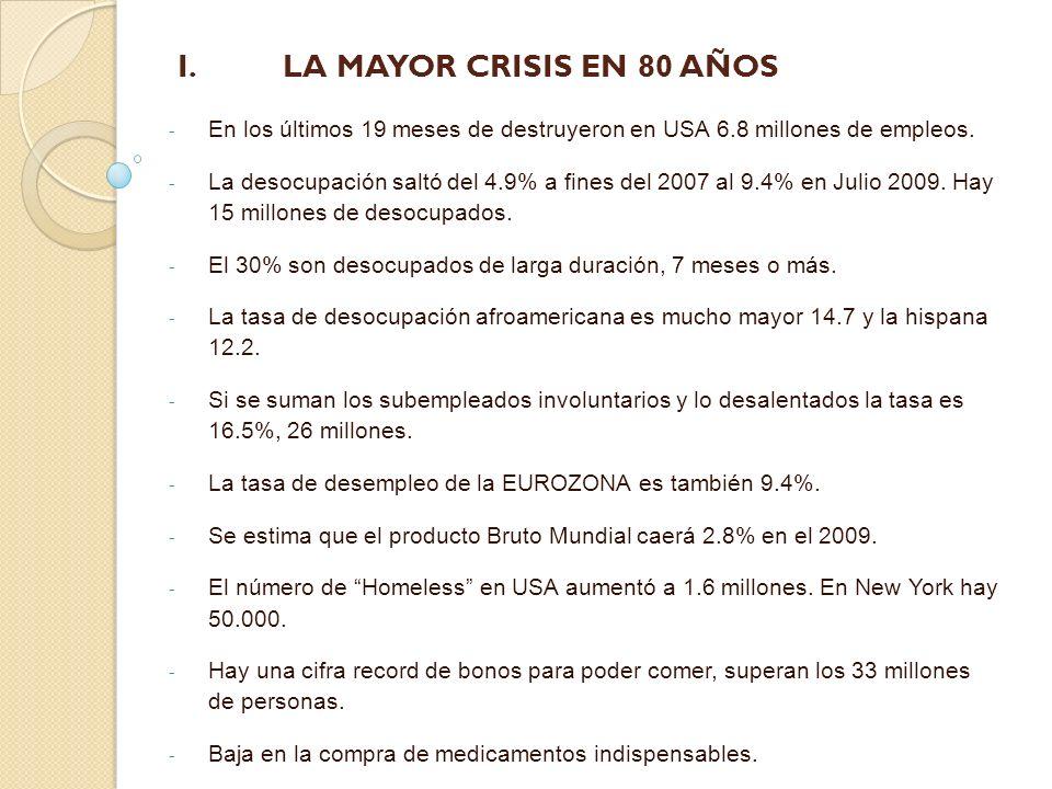 I. LA MAYOR CRISIS EN 80 AÑOS