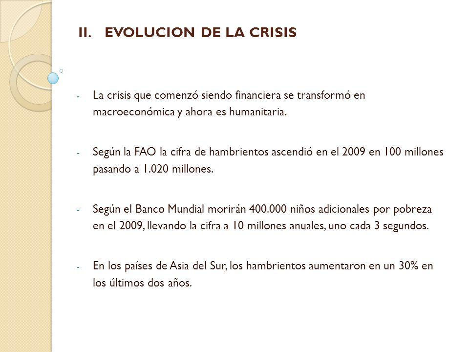 EVOLUCION DE LA CRISIS La crisis que comenzó siendo financiera se transformó en macroeconómica y ahora es humanitaria.