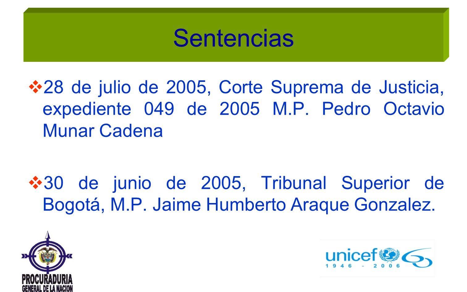 Sentencias 28 de julio de 2005, Corte Suprema de Justicia, expediente 049 de 2005 M.P. Pedro Octavio Munar Cadena.