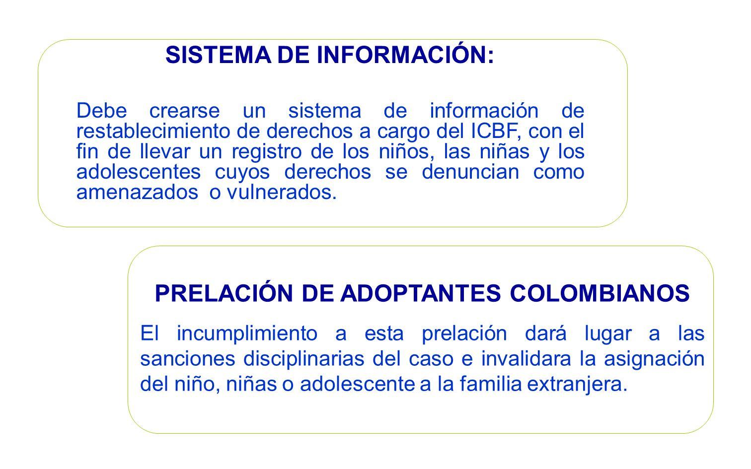 SISTEMA DE INFORMACIÓN: PRELACIÓN DE ADOPTANTES COLOMBIANOS