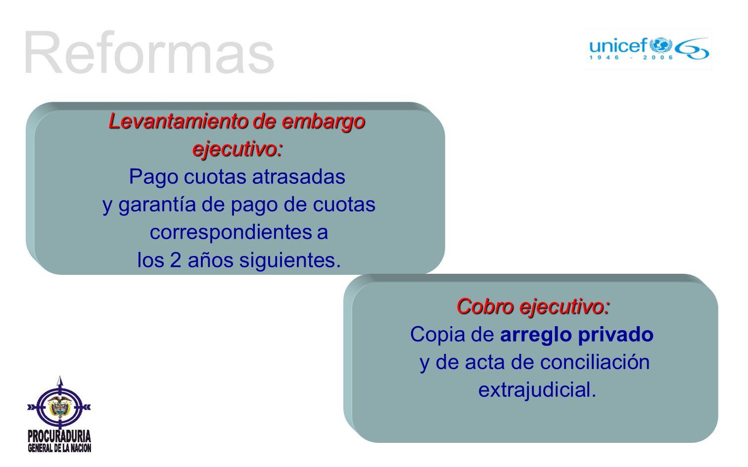 Reformas Levantamiento de embargo ejecutivo: Pago cuotas atrasadas