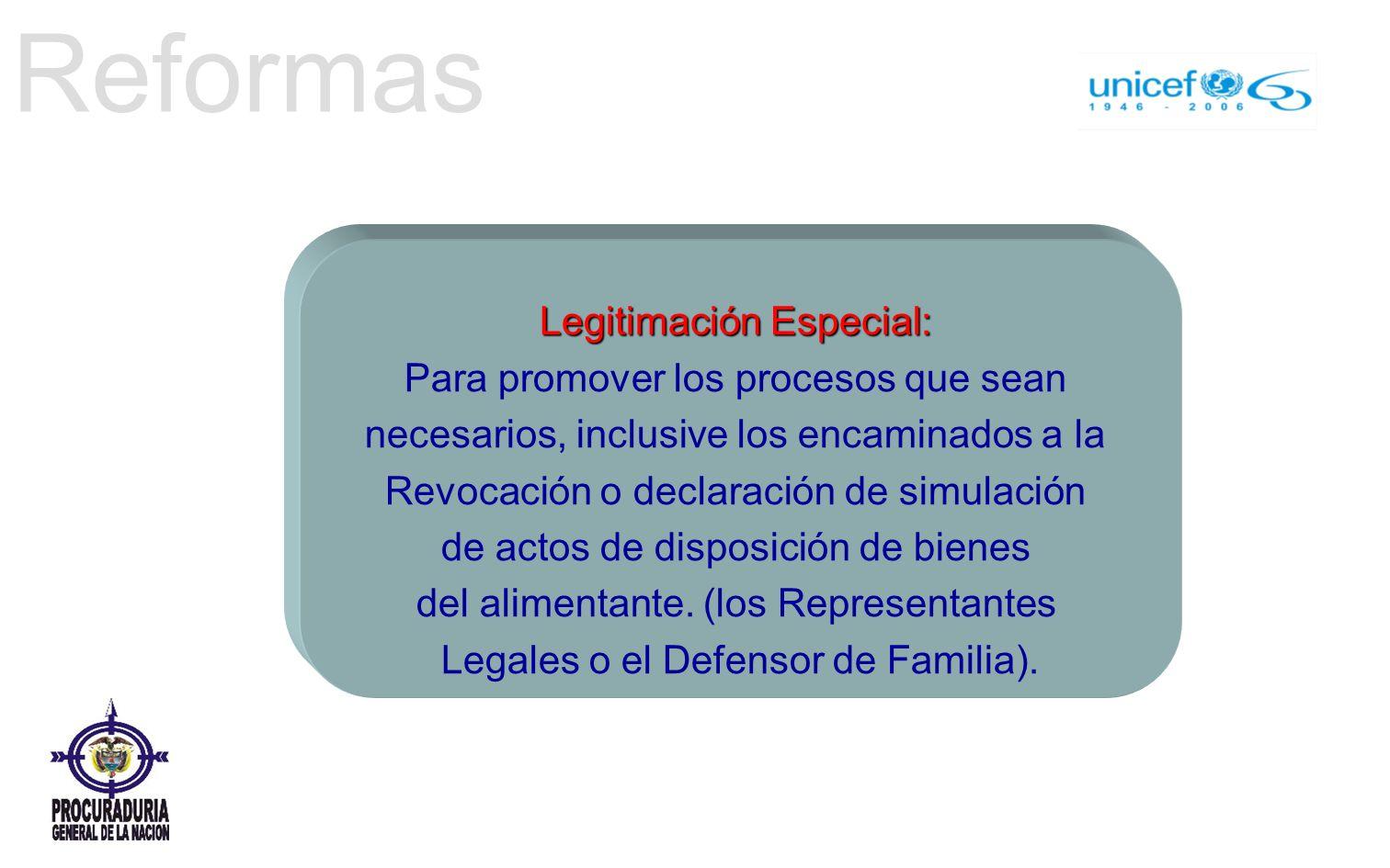 Reformas Legitimación Especial: Para promover los procesos que sean