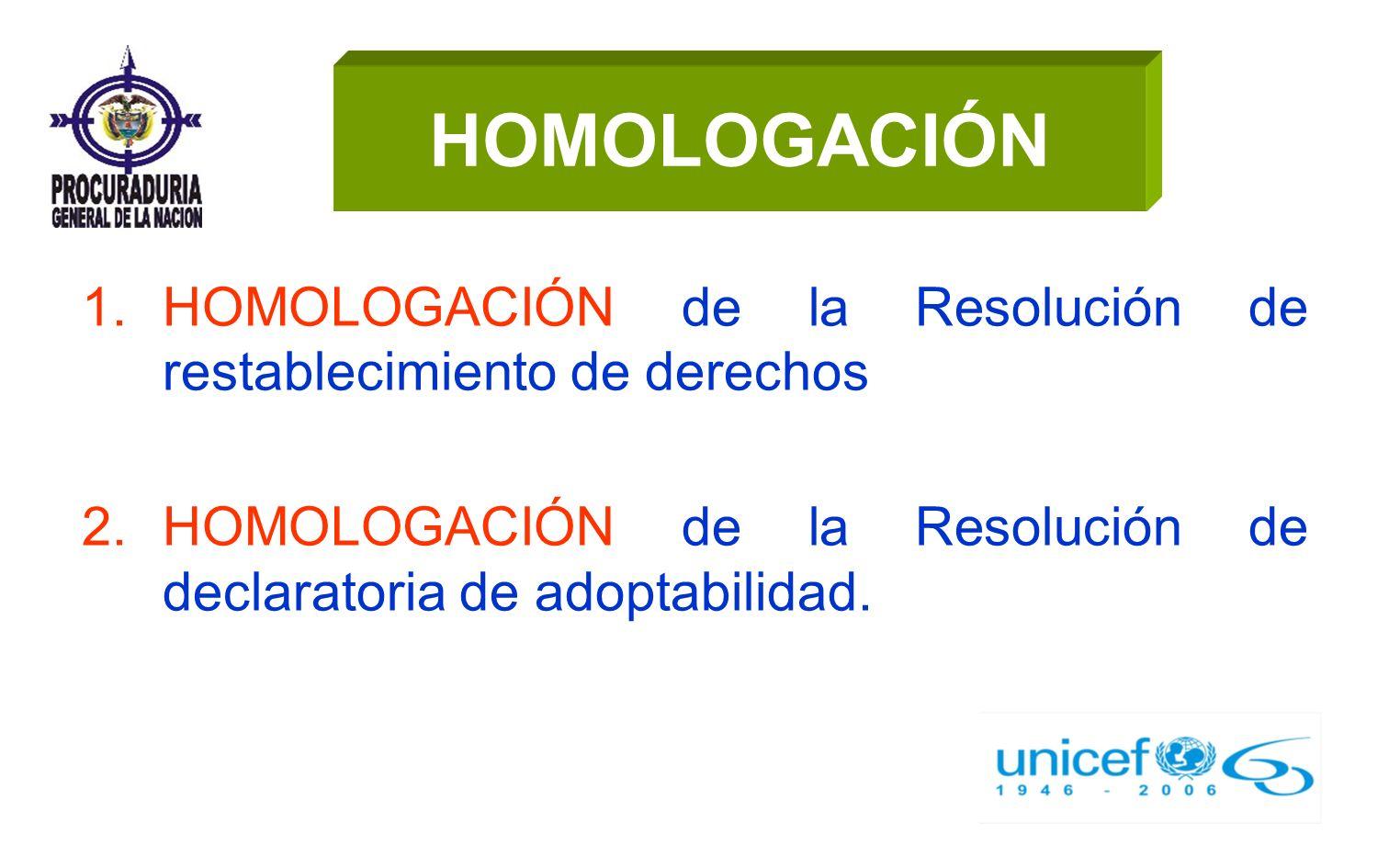 HOMOLOGACIÓN HOMOLOGACIÓN de la Resolución de restablecimiento de derechos.
