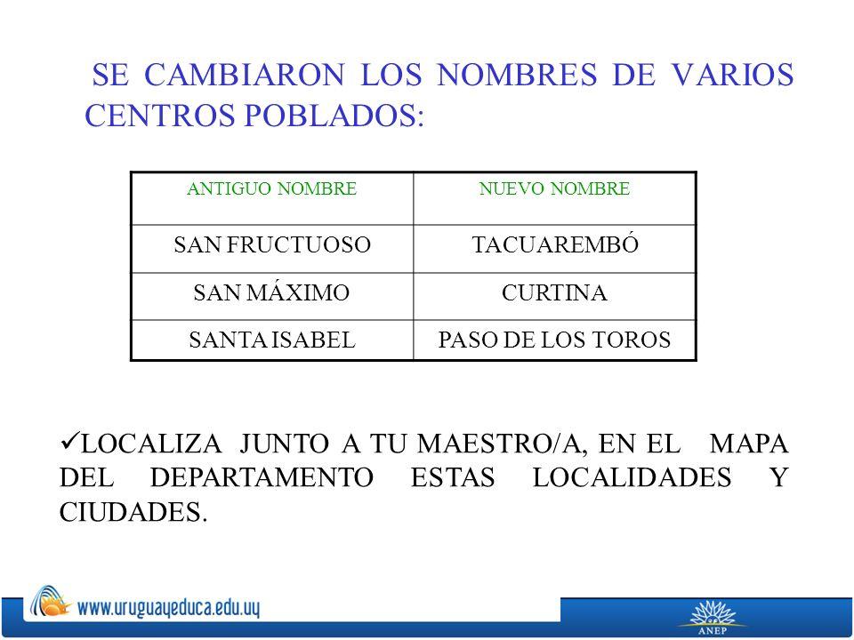 SE CAMBIARON LOS NOMBRES DE VARIOS CENTROS POBLADOS: