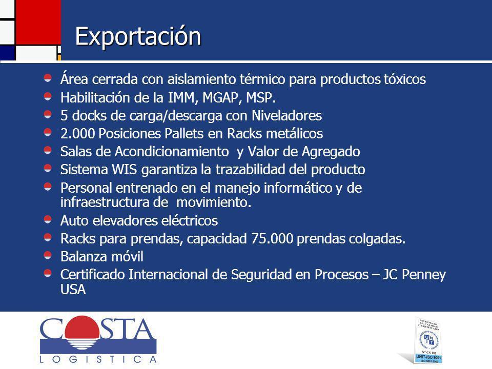 Exportación Área cerrada con aislamiento térmico para productos tóxicos. Habilitación de la IMM, MGAP, MSP.