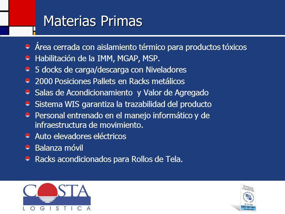 Materias Primas Área cerrada con aislamiento térmico para productos tóxicos. Habilitación de la IMM, MGAP, MSP.