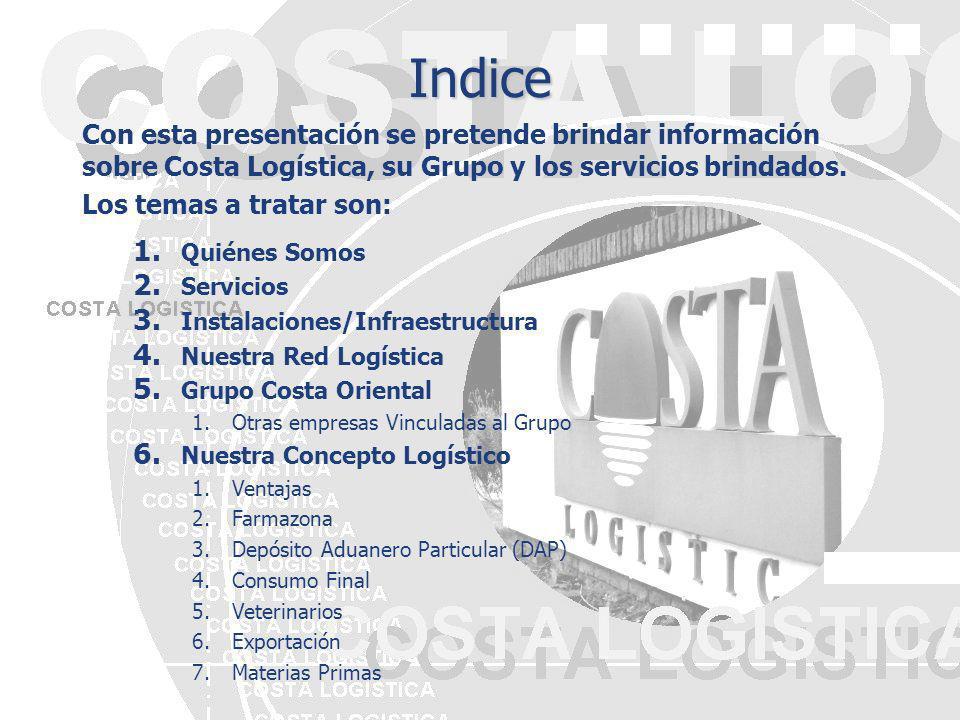 Indice Con esta presentación se pretende brindar información sobre Costa Logística, su Grupo y los servicios brindados.
