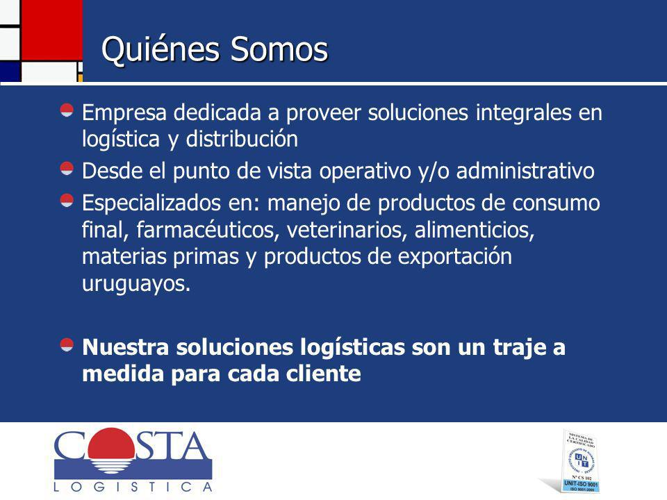 Quiénes Somos Empresa dedicada a proveer soluciones integrales en logística y distribución. Desde el punto de vista operativo y/o administrativo.