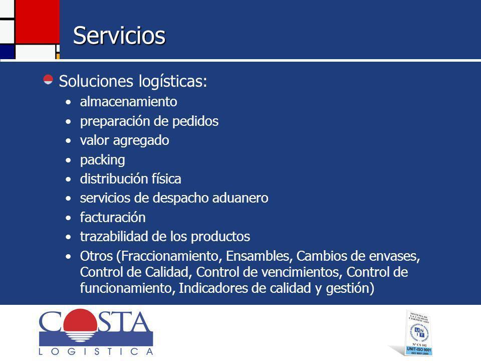 Servicios Soluciones logísticas: almacenamiento preparación de pedidos