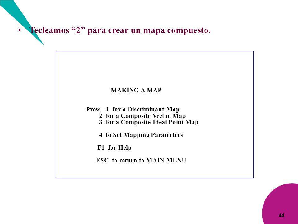 Tecleamos 2 para crear un mapa compuesto.