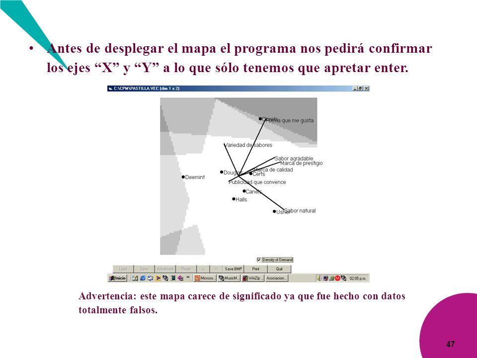 Antes de desplegar el mapa el programa nos pedirá confirmar los ejes X y Y a lo que sólo tenemos que apretar enter.