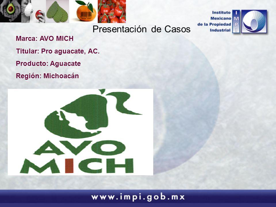 Presentación de Casos Marca: AVO MICH Titular: Pro aguacate, AC.