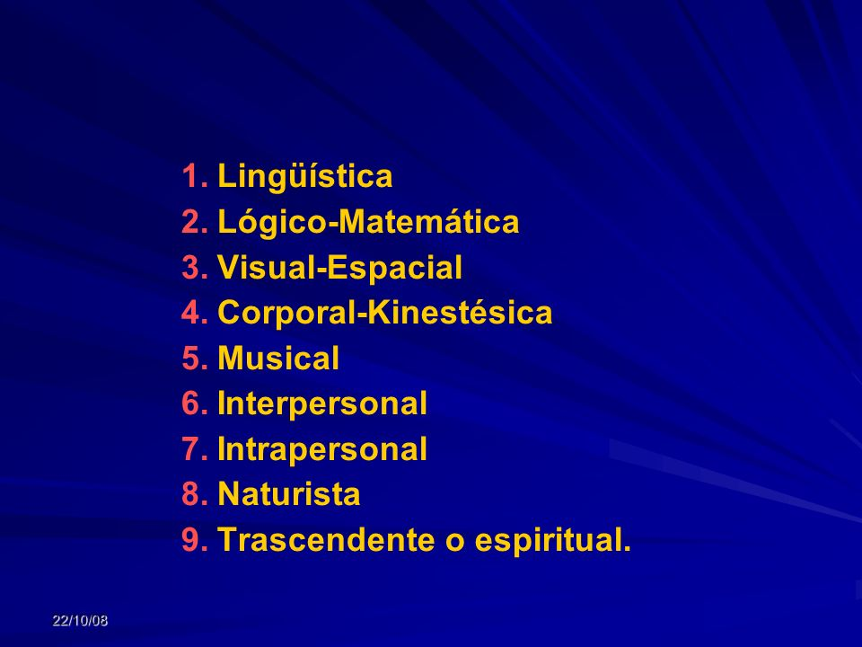 Corporal-Kinestésica Musical Interpersonal Intrapersonal Naturista