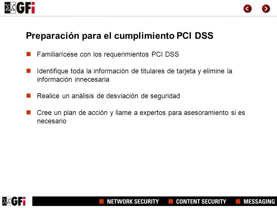 Preparación para el cumplimiento PCI DSS
