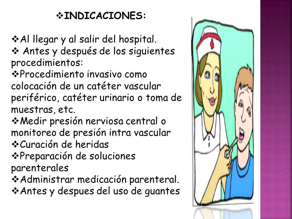 INDICACIONES: Al llegar y al salir del hospital. Antes y después de los siguientes procedimientos: