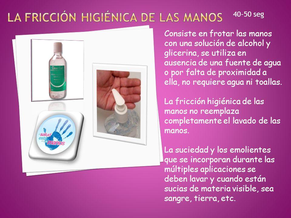 La fricción higiénica de las manos