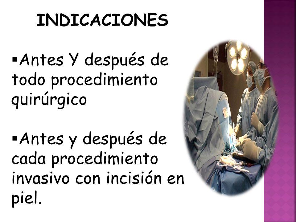INDICACIONES Antes Y después de todo procedimiento quirúrgico.