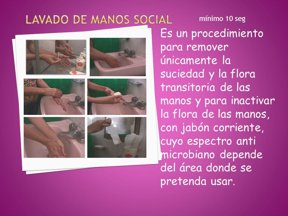 Lavado de manos social mínimo 10 seg. Es un procedimiento para remover únicamente la suciedad y la flora transitoria de las.