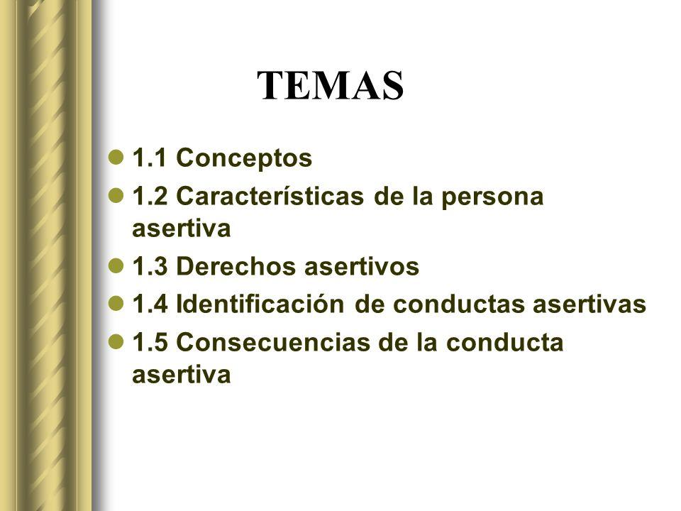 TEMAS 1.1 Conceptos 1.2 Características de la persona asertiva