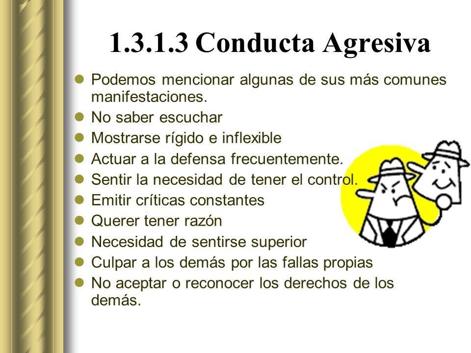 1.3.1.3 Conducta Agresiva Podemos mencionar algunas de sus más comunes manifestaciones. No saber escuchar.