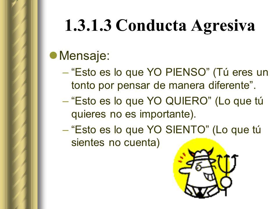 1.3.1.3 Conducta Agresiva Mensaje: