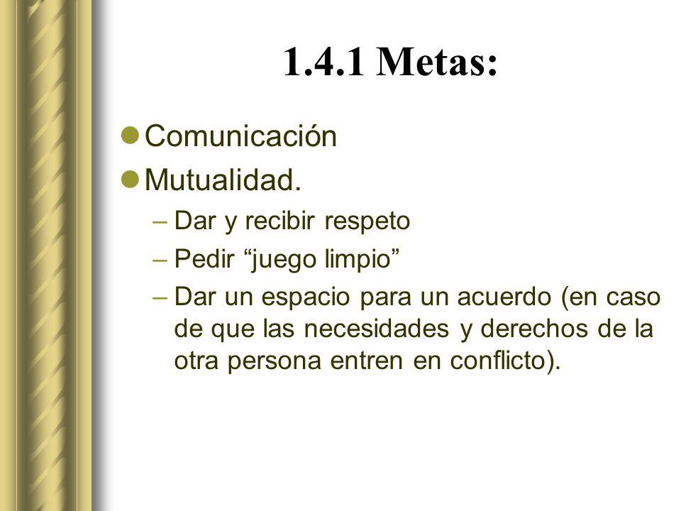 1.4.1 Metas: Comunicación Mutualidad. Dar y recibir respeto