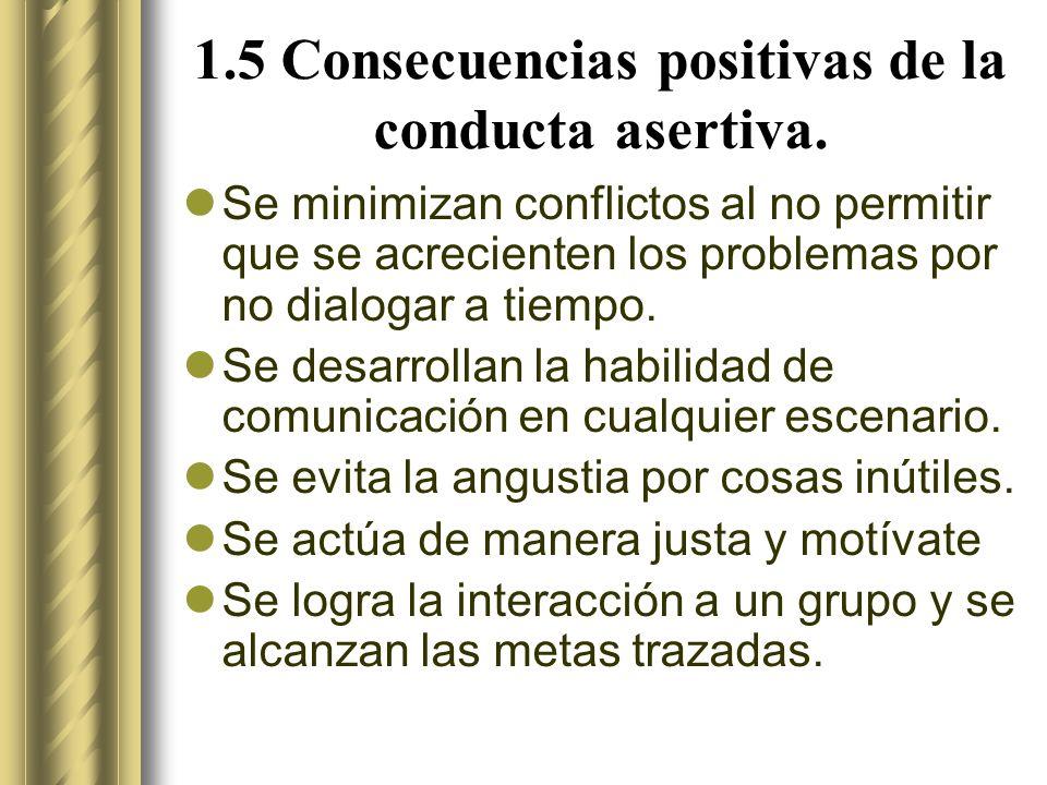 1.5 Consecuencias positivas de la conducta asertiva.