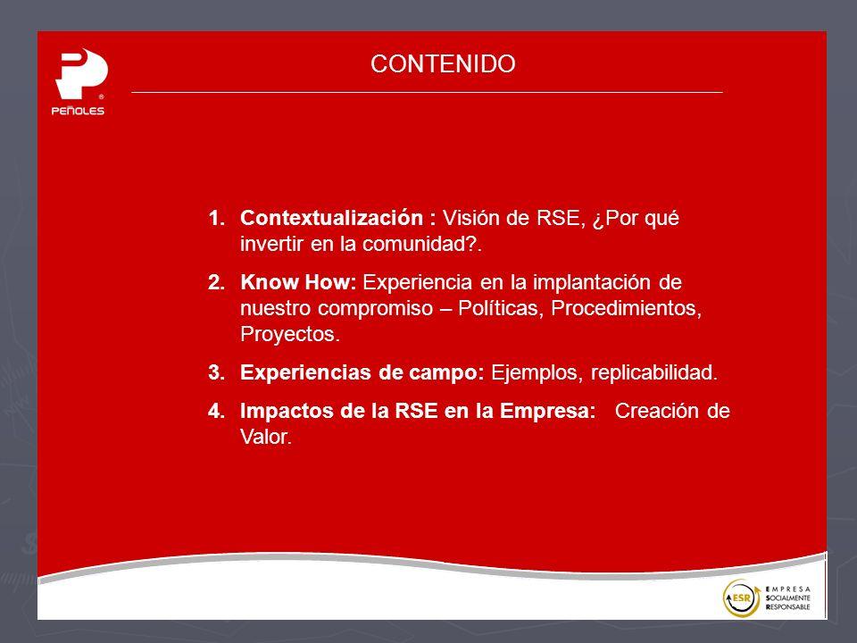 CONTENIDO Contextualización : Visión de RSE, ¿Por qué invertir en la comunidad .