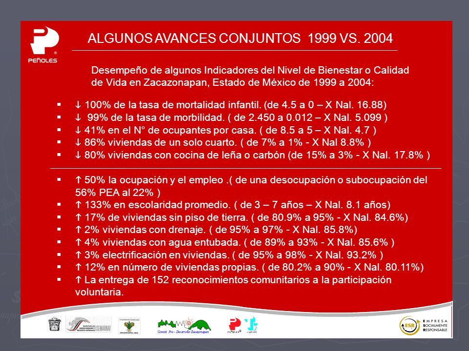 ALGUNOS AVANCES CONJUNTOS 1999 VS. 2004