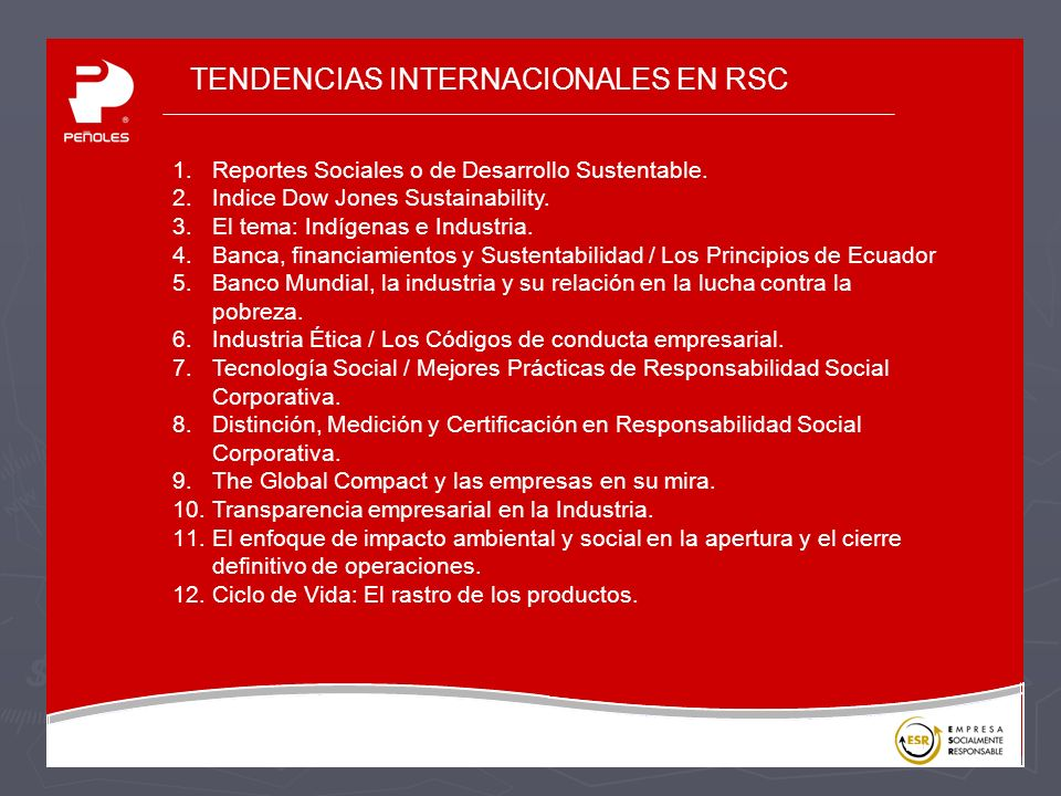 TENDENCIAS INTERNACIONALES EN RSC