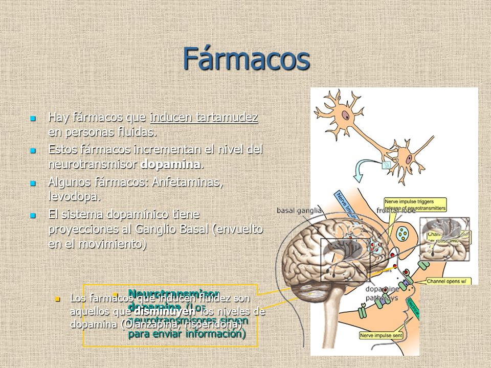 Fármacos Hay fármacos que inducen tartamudez en personas fluidas.