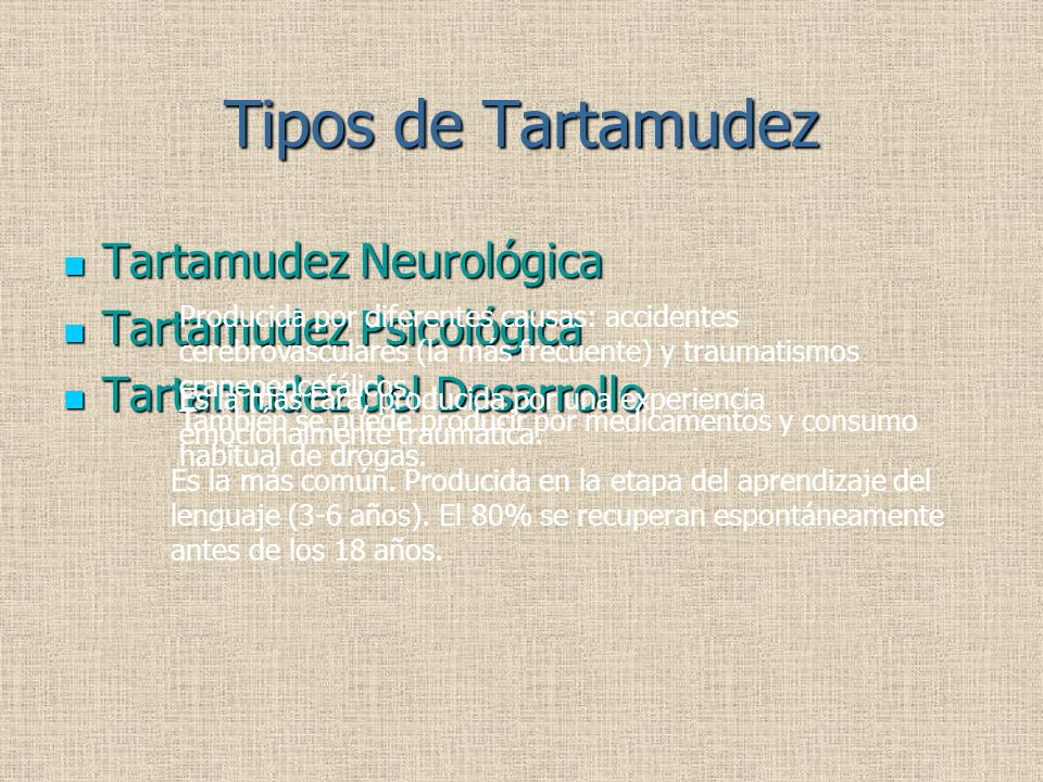 Tipos de Tartamudez Tartamudez Neurológica Tartamudez Psicológica