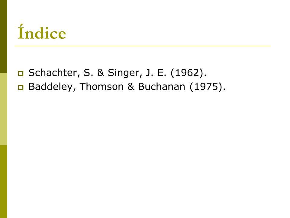 Índice Schachter, S. & Singer, J. E. (1962).
