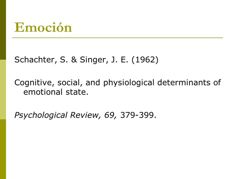 Emoción Schachter, S. & Singer, J. E. (1962)