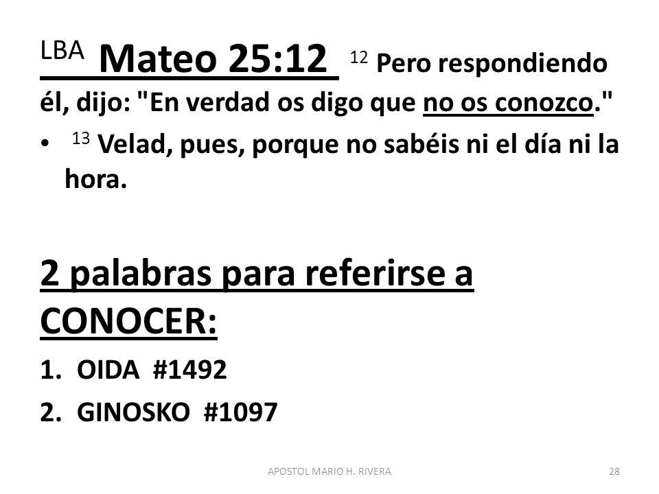 LBA Mateo 25:12 12 Pero respondiendo él, dijo: En verdad os digo que no os conozco.