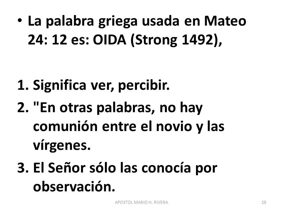 La palabra griega usada en Mateo 24: 12 es: OIDA (Strong 1492),