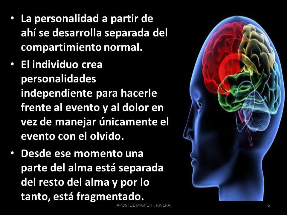 La personalidad a partir de ahí se desarrolla separada del compartimiento normal.