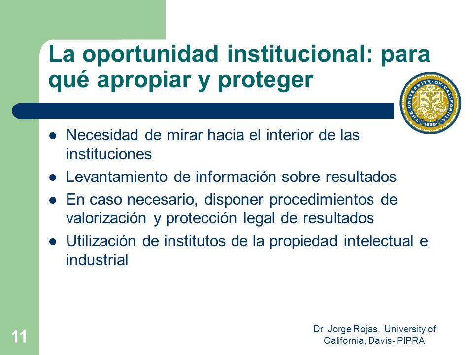 La oportunidad institucional: para qué apropiar y proteger