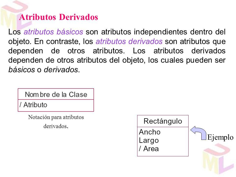 Notación para atributos derivados.