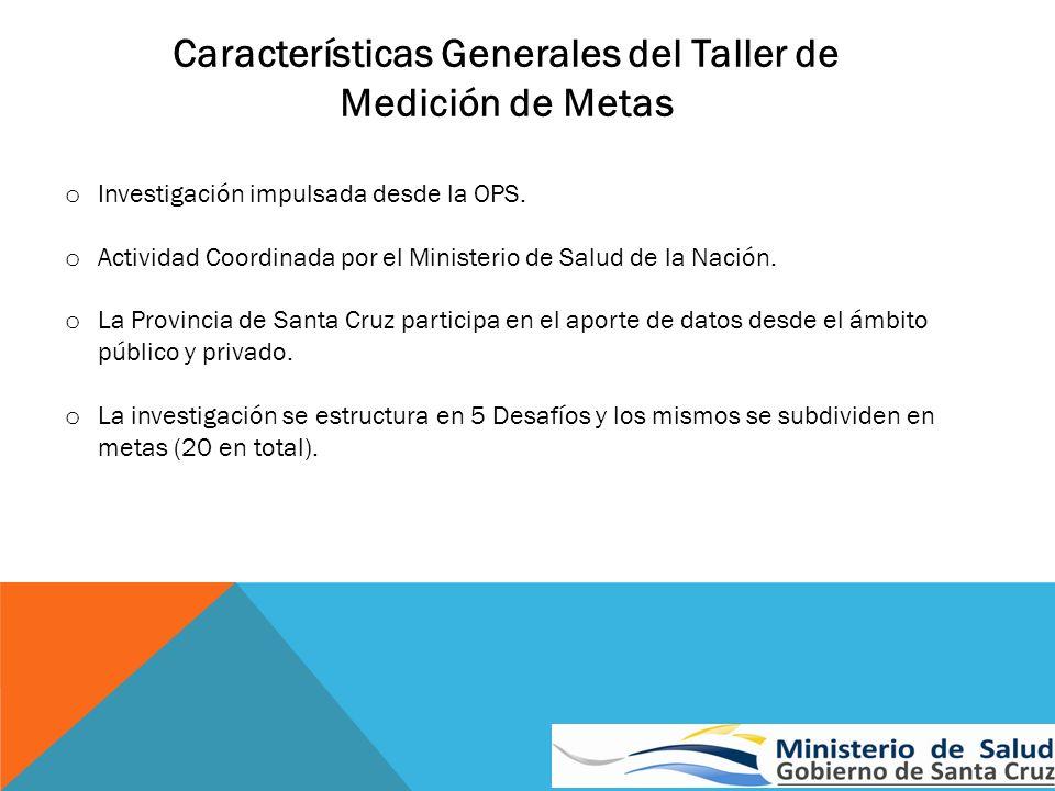Características Generales del Taller de Medición de Metas